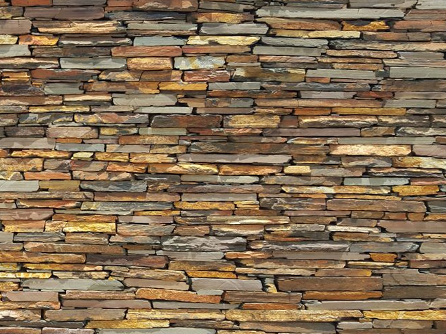 Rich Autumn Slate Strip Walling